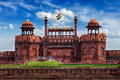 Red Fort Lal Qila with Indian flag. Delhi, India Royalty Free Stock Photo