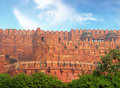 Red fort wall in agra india Stock Photos