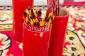 Red fortune stick at a temple Royalty Free Stock Photo