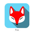 Red fox cartoon face, flat icon design Royalty Free Stock Photo