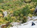 Red Fox route on Uarch-Kaya mountain, Crimea. Royalty Free Stock Images