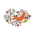Red fox. Trees, branches, leaves. Berries and apples. Acorns. Isolated object on white background.