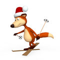 Red Foxes Skier. Stock Image