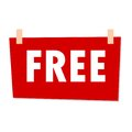 Red Free Sign - illustration on white background