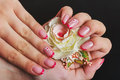 Red french nail art with flower Royalty Free Stock Photo