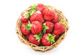 Red fresh strawberry in a bowl on white background isolated Royalty Free Stock Photo