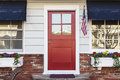 Red front door of an american home Royalty Free Stock Photo