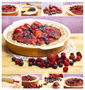 Red fruits tart collage Royalty Free Stock Photography