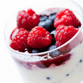 Red fruits with yogurt and mascarpone cream Royalty Free Stock Images