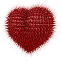 Red fuzzy heart with tentacle like spikes d rendering on black background Stock Photos