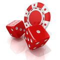 Red gambling chips and dices Royalty Free Stock Photo