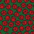 Red gambling dices seamless pattern on green background vector illustration Stock Image