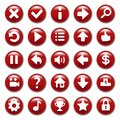 Red game buttons set and white symbol Royalty Free Stock Photography