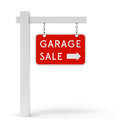Red garage sale sign with arrow symbol isolated on white background Stock Photos
