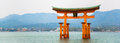 Red gate located in the sea at miyajima island Hiroshima Royalty Free Stock Photo