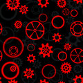 Red gear seamless pattern as black and Stock Images