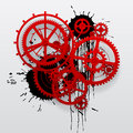 Red gear wheels of clockwork with black blots Royalty Free Stock Photo