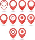 Red geo pins. Geolocation red signs set. Geolocate and navigation sign. Royalty Free Stock Photo