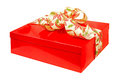 Red gift angle isolated included clipping path Stock Images