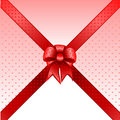 Red gift bow card note vector Stock Photos