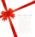 Red gift bows with ribbon and heart Stock Photos