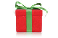 Red gift box with bow for gifts on Christmas, birthday or Valentines day Royalty Free Stock Photo