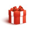 Red gift box with bow and ribbon Royalty Free Stock Photo