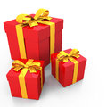 Red gift box and gold ribbon Stock Images