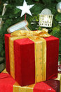 Red gift box with gold ribbon Royalty Free Stock Photo