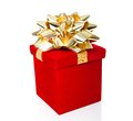Red gift box with golden bow for all occasions isolated on white Stock Photography