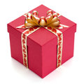 Red gift box with golden ribbon and bow isolated on the white background clipping path included Royalty Free Stock Photos