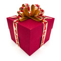 Red gift box with golden ribbon and bow isolated on the white background clipping path included Stock Photo