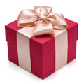 Red gift box with golden ribbon isolated on the white background clipping path included Royalty Free Stock Photos