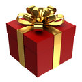 Red gift box with golden ribbon, PNG transparent background Royalty Free Stock Photo