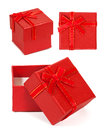 Red gift box isolated white background Stock Photography