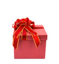 Red gift box with red and glod ribbon on white background Royalty Free Stock Photos