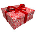 Red gift box - red ribbon Stock Photo