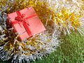 Red gift box with red ribbon bow and golden seam place on silver and gold rainbow glowing decoration background on green grass. Royalty Free Stock Photo