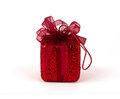 Red gift box with ribbon bow Stock Photography