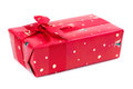 Red gift box with ribbon and bow isolated on the white backgroun Royalty Free Stock Photo