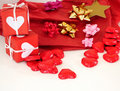 Red gift box with ribbons Stock Images