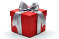 Red gift box with silver ribbon bow Royalty Free Stock Photo