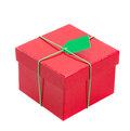 Red gift box with tag green isolated om white background Royalty Free Stock Images
