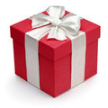 Red gift box with white ribbon and bow. Stock Photos