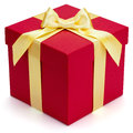 Red gift box with yellow ribbon and bow isolated on the white background clipping path included Royalty Free Stock Photography