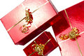 Red gift boxes for Christmas Royalty Free Stock Photography