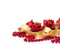 Red gift boxes and christmas decorations Royalty Free Stock Photography