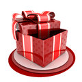 Red gift done in d isolated Stock Photos