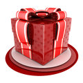 Red gift done in d isolated Stock Photography