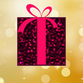 Red gift on a gold shine background. EPS 8 Royalty Free Stock Image